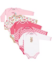 Baby Unisex Long Sleeve Bodysuits, 5-Pack