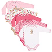 Luvable Friends Baby Infant 5-Pack Long Sleeve Hanging Bodysuit, Pink Bunny, 6-9 Months