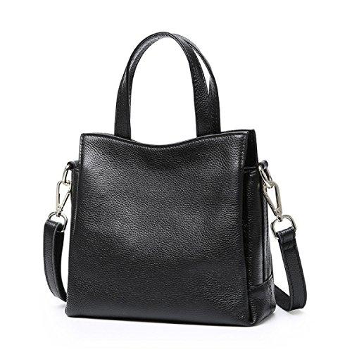 Casual Primera Capa De Moda Simple De Cuero De Tres Compartimiento Señoras Bolsa Black