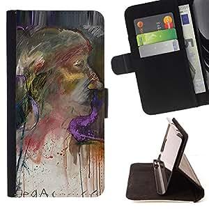 """For MOTOROLA MOTO X PLAY XT1562,S-type Pintura de la mujer del retrato de la acuarela"""" - Dibujo PU billetera de cuero Funda Case Caso de la piel de la bolsa protectora"""