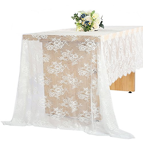 (60 x 120 Inch Vintage Wedding White Lace Tablecloths, Rose Floral Lace Table Runner Overlay Table Cover, Rustic Wedding Reception Table Decorations, Bridal Baby Girl Shower Party Decorations)