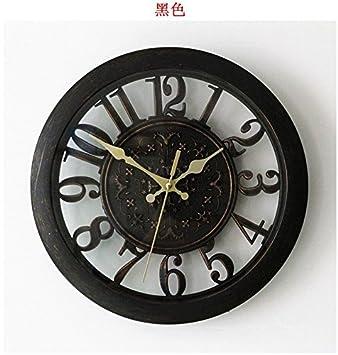 12 pulgadas Retro reloj de pared reloj digital emulazione grabado de cobre Ed Elegante salón reloj de pared tabla cuarzo Mute: Amazon.es: Hogar