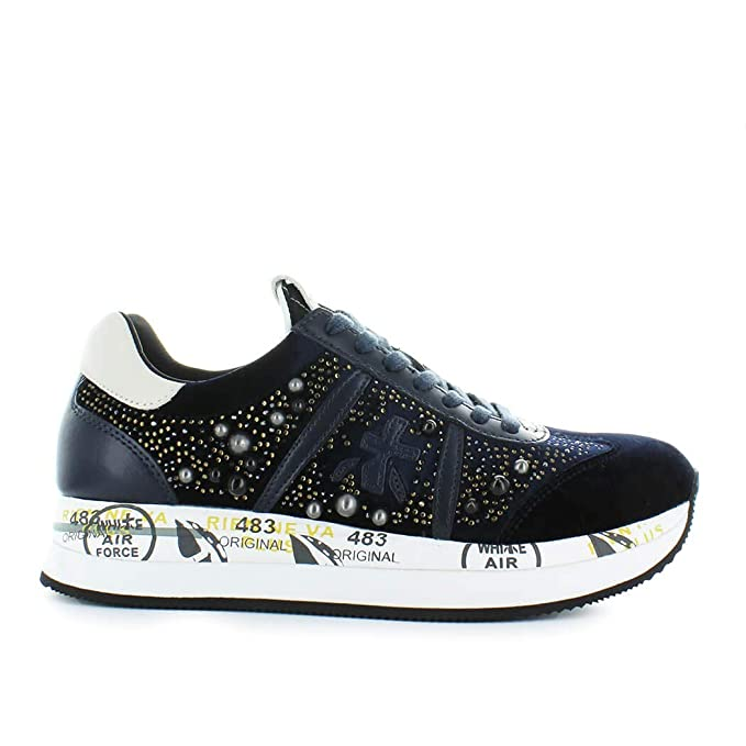 PREMIATA Scarpe da Donna Sneaker Conny 3364 Velluto Blu