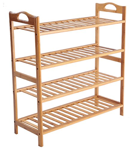 - Cinlv 4 Tier 12 Pair Stackable Bamboo Shoe Rack Mesh Utility Shoe Tower Shelf Storage Organizer Cabinet for Entryway Closet Living Room Bedroom