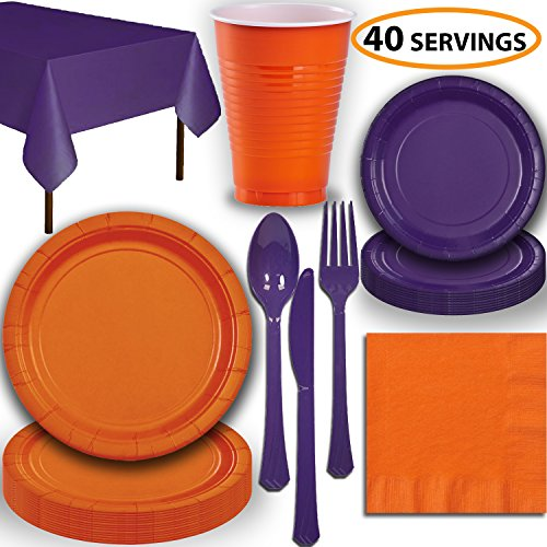Disposable Party Supplies, Serves 40 - Orange and Purple - Large and Small Paper Plates, 12 oz Plastic Cups, Heavyweight Cutlery, Napkins, and Tablecloths. Full Two-Tone Tableware Set