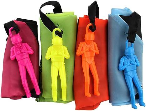 rosa, amarillo, naranja, azul 4 piezas de paracaidista tiro de la mano del hombre con grandes paraca/ídas al aire libre Los ni/ños vuelan juguetes