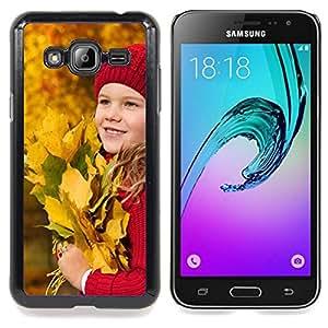 Stuss Case / Funda Carcasa protectora - Bebé Otoño Joven Bebé Hojas de Equitación - Samsung Galaxy J3 GSM-J300