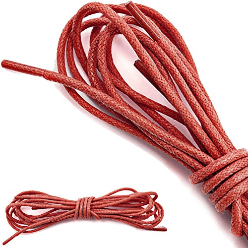 DailyShoes Round Waxed Shoelaces Oxford Flat Dress Canvas Shoe Laces (Great for Athletic Shoes), Red (Red Lace Flats Shoes Women)