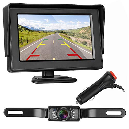 ZSMJ Backup Camera and Monitor Kit HD 720P Easy Installation for Car/Suv/Pickup/Truck/Van/RV/Trailer Single Power Rear View System Driving/Reversing Use IP68 Waterproof Night Vision ()