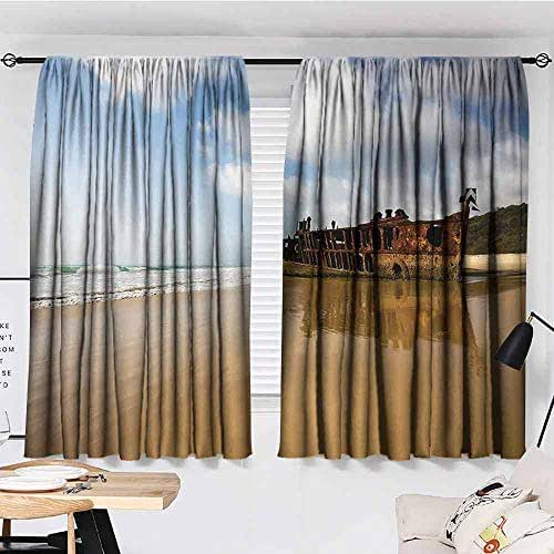 KAKKSW Printed Curtain, Ocean Decor, Antique Rusty Pirate Ship Wreck on The Coast in Caribbean Island Pacific Sea View, Thermal Insulated Drapery Drapes for Living Room, 55