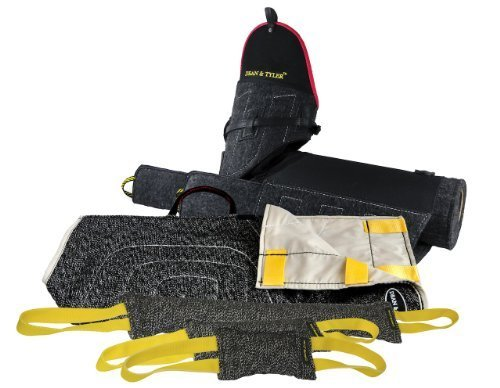Dean & Tyler 5-Piece Professional Training Bundle Set for Dogs with 1 Tri-Bite Sleeve/1 French Linen Cover/1 Small Tug/1 Medium Tug/1 Large Tug