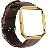 UMAXGET for Fitbit Blaze Bands, Genuine Leather Replacement Band with Golden Metal Frame Dark Brown Large