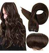 Full Shine Straight Remy Hair Weft Extensions 18 Inch Sew in Weft Extensions Full Head Double Wef...