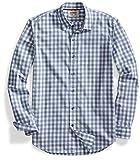 Goodthreads Men's Standard-Fit Long-Sleeve Gingham Plaid Poplin Shirt, Grey/White, Large Tall