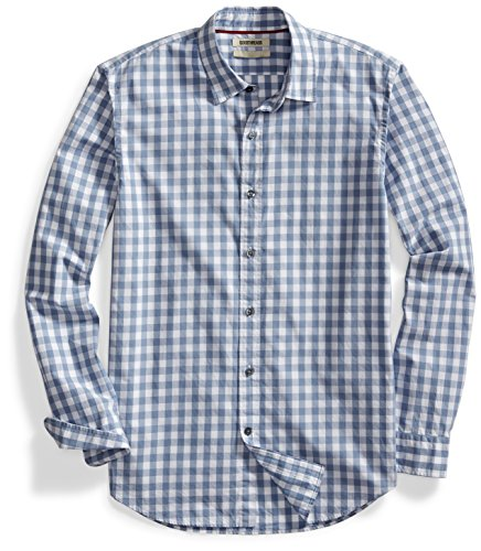 Goodthreads Men's Standard-Fit Long-Sleeve Gingham Plaid Poplin Shirt, Grey/White, Large ()