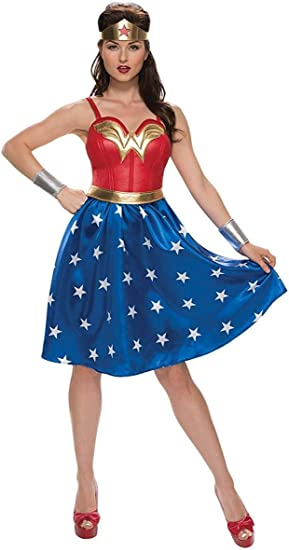 Wonder Woman Costume Deluxe PU Dress Party Halloween Cosplay Adult Outfits
