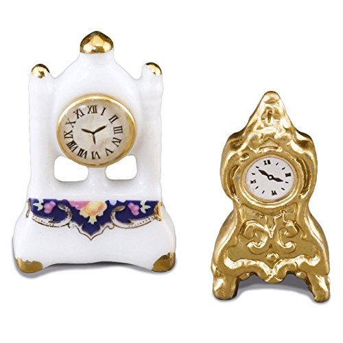 (Miniature 1:12 Scale Victorian Mantle Clock Set from Reutter Porcelain New for)