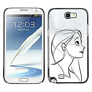 LECELL--Funda protectora / Cubierta / Piel For Samsung Galaxy Note 2 N7100 -- Portrait Profile Girl Drawing Pencil Face --