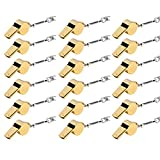 6MILES 18 PCS Golden Copper Stainless Loud Whistles for Emergency Referee Coaches Training Sports With Black Lanyard