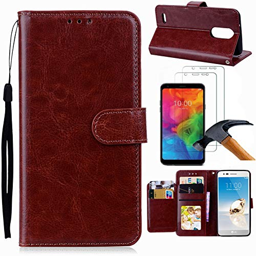 LG Q7 Case, LG Q7 Plus Case, LG Q7 Alpha Case with Screen Protector, I VIKKLY [Kickstand] Magnetic Snap Premium PU Leather Folio Flip Wallet with Card Slots and Wrist Strap Case for LG Q7 (Brown)