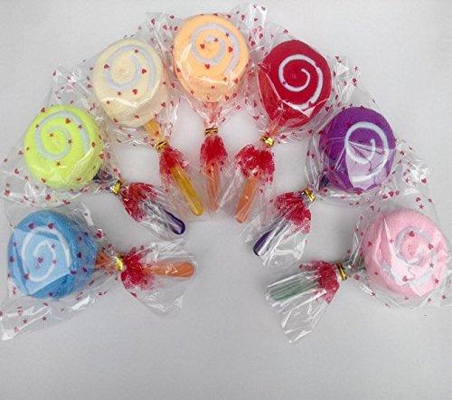 URBeauty 8PCS Creative Lollipop Shape Wash Cloth Cake Ornament Fiber Towel Present Wedding Party Favor Gift(Color Randomly)