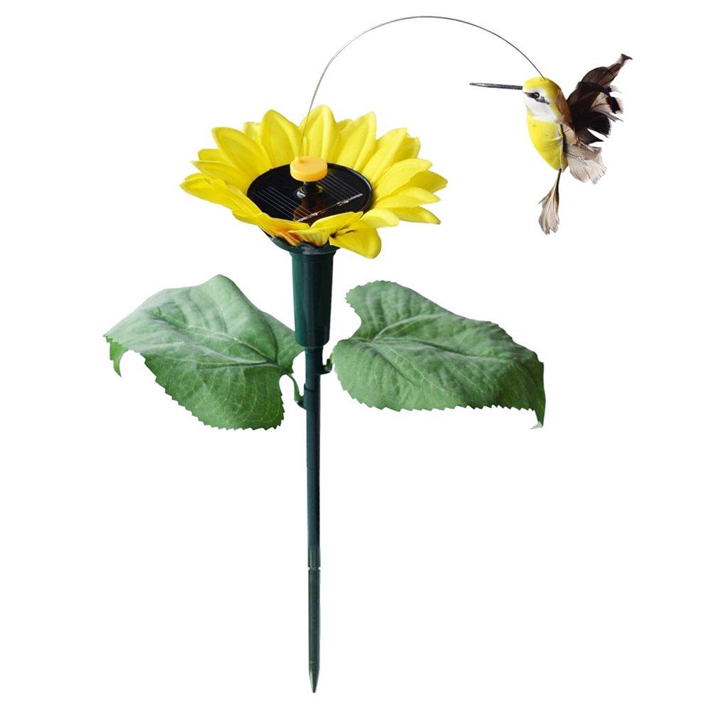Homyl 2x Solar Fluttering Dancing Garden Stake Outdoor Decor Flower Butterfly Bird