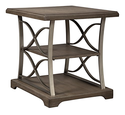 (Ashley Furniture Signature Design - Baymore Casual Rectangular End Table - Grayish Brown)