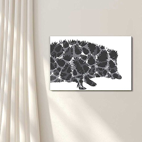 Pins and Needles Hedgehog and Pinecones Silhouette Black and White Exclusive Artwork Quirky Fun Design