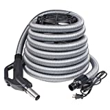 Central Vacuum Electric Hose - 24V - 110V - Swivel (30 feet) Designed To Fit All Central Vacuums- BEAM, Kenmore, Canavac, Vacuflo, DuoVac, Husky, and More