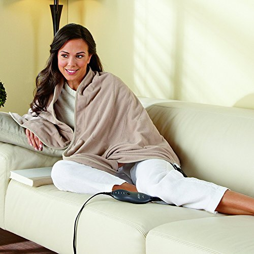 Sunbeam Heated Wrap | Soft Fleece, 4 Heat Settings, Sand