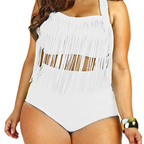 Women's 2 Pieces Plus Size Bikini with Tassels Swimsuit High-Waist Swimwear (White)