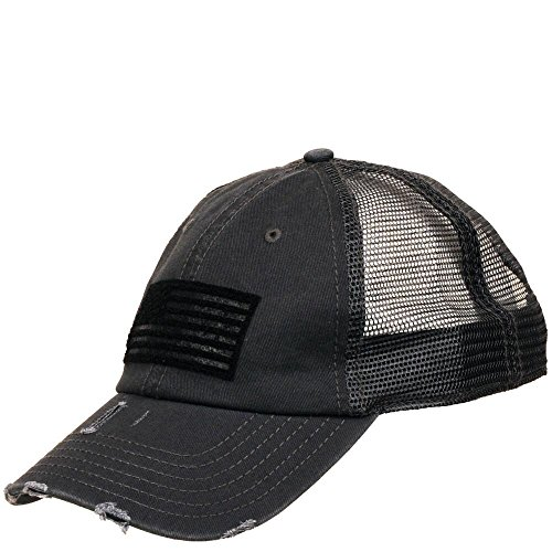 Wilsons Leather Mens, Womens Distressed Flag Baseball Hat Navy