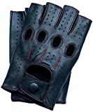 Riparo Motorsports Men's Fingerless Half Finger Driving Fitness Motorcycle Cycling Unlined Leather Gloves (Medium, Black/Red Thread)