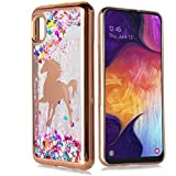 Customerfirst Case for Samsung Galaxy A10E Cute Liquid Glitter Flowing Quicksand Sparkle Stars Shockproof Protective Chrome TPU Rose Gold Cover for Galaxy A10E [Free Emoji Keychain!] (Unicorn)