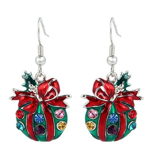 EVER FAITH Christmas Gift Austrian Crystal Enamel Cute Gift Bag Hook Dangle Earrings Red Silver-Tone
