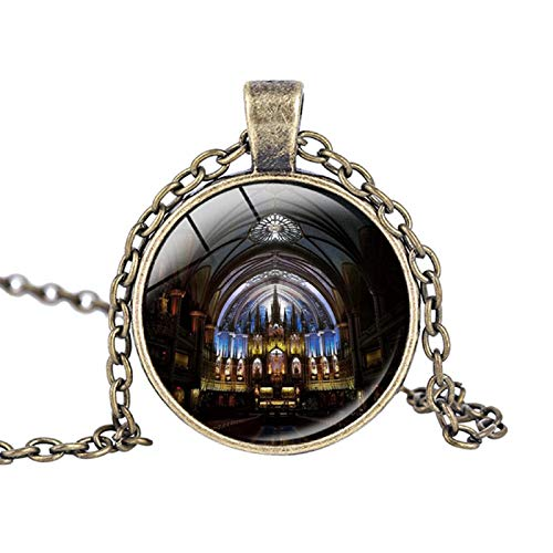 Rose Window Christmas Ornament Stained Glass Notre Dame de Paris Cathedral Pendant Necklace