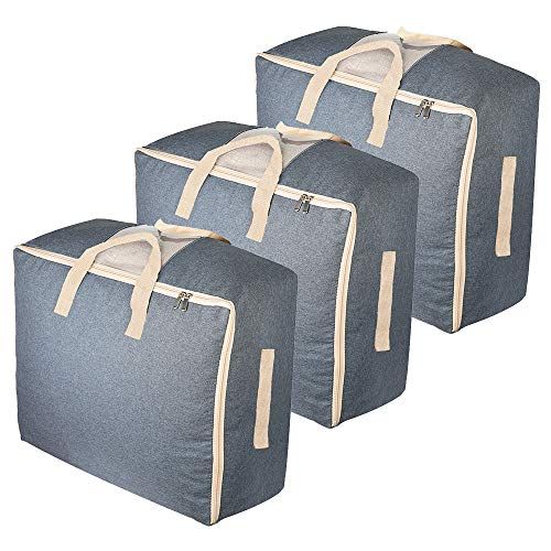 Qozary 3 Pack Storage Bags for Comforters, Blankets, Clothes, Quilts and Towels, 53L Better and Sturdy Organizer Bag, Under Bed Storage, Great for Closets, Bedrooms