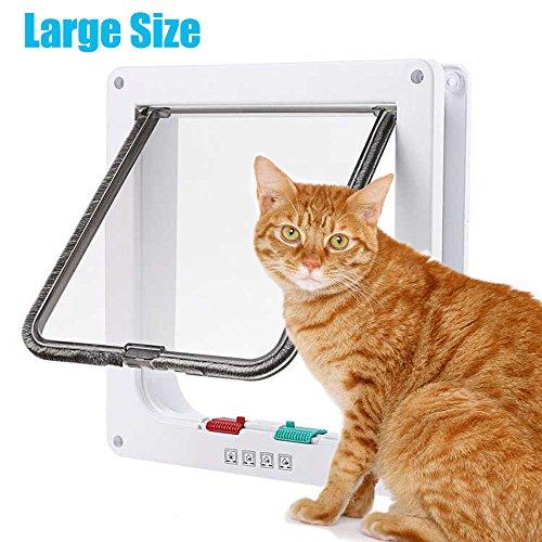 Large Cat Flap (RESTER 4 Ways Locking Switch Button Smart Pet Door Durable ABS Large Size White Cat Door)