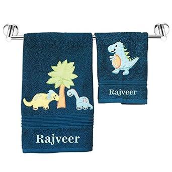 Personalized Towels Dino World Kids Bath Towels Plus Hand Napkin