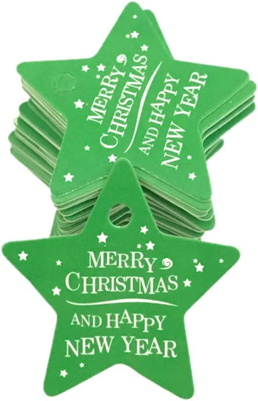 sunnymi 100pcs Star Santa Claus Gift Tag Merry Christmas Card Hang Tag for Cookies Home DIY Children Gift A