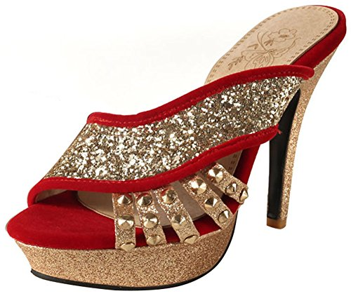 Mofri Women's Fashion Sequins Peep Toe Sandals - Studded Rivets Faux Suede - Pointy High Heels Platform Slide on Mules Shoes Red
