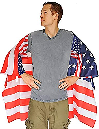 DomeStar USA American Flag Cape Cloak Costume, Wearable Flag with Sleeves Classic Flag, 2 Differents Wearing Methods