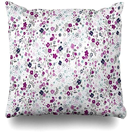 Throw Pillow Cover Pattern Pink Ditsy Floral in Abstract Tile Flower Small Graphic Flora Retro Pillowcase Square Size 18 x 18 Inches Home Sofa Cushion Decor Case