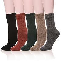 Velice Womens Super Thick Merino Wool Knit Warm Wool Crew Winter Socks 4-Packs