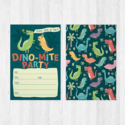 Dinosaur Kids Party Invitation Cards - Lots of Fun with a Pun! 25 High Quality Invites with Envelopes for T-Rex Kids Party, Jurassic Birthday or a Dino Themed Baby Shower. by PartyGraphix (Image #2)