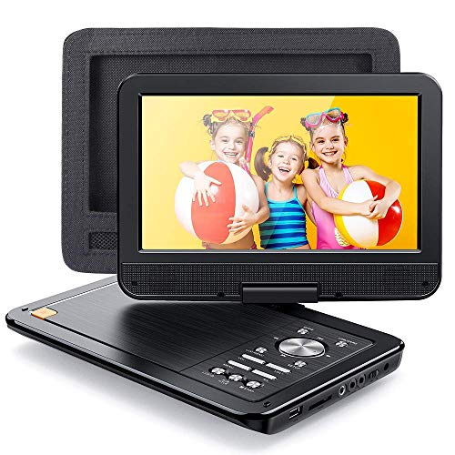 APEMAN 2021 Upgrade 12.5″ Portable DVD Player with 10.5″ HD Swivel Screen, 6 Hour Rechargeable Battery for Car/Kids, Car Headrest Mount Case, Support USB/SD Card/Sync TV and Multiple Disc Formats