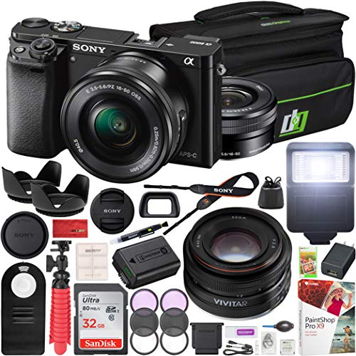 Sony Alpha a6000 Mirrorless Digital Camera ILCE-6000L/B E PZ 16-50mm f/3.5-5.6 OSS Lens and Vivitar 50mm F2.0 Prime Lens + Deco Gear Case Flash Remote & Filter Kit Pro Bundle