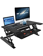 Screen Mounts Sit Stand Desk, Dual Screen Height Adjustable Workstation Space with 8 Positions, 15kg Capacity and iPad iPhone Rest Flexi-Desk LD02-A2
