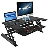 iDesk Black Deluxe Height Adjustable Standing Desk 36'' Standing Gas Spring Desk Riser, Removable Keyboard Tray Tabletop Monitor iPad Sit to Stand Laptop Riser sit stand desk(iDesk 9 Plus)