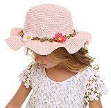 Bienvenu Sun Straw Hat Kids Girls Large Wide Brim Travel Beach Beanie Cap,Pink